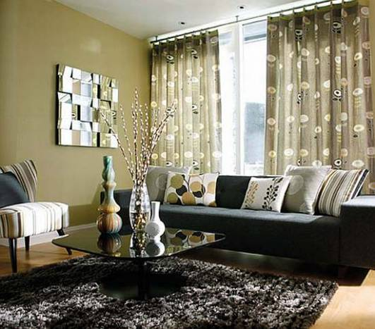 What colour curtains go best with a dark grey and black for Decorating with dark colours